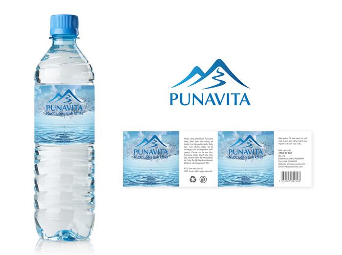 Dự án đặt tên thương hiệu nước tinh khiết PUNAVITA - mẫu nhãn mác chai nước tinh khiết